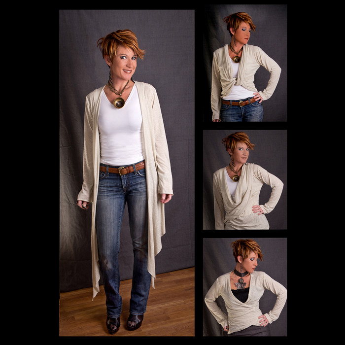 Karen cream wrap sweater multiple
